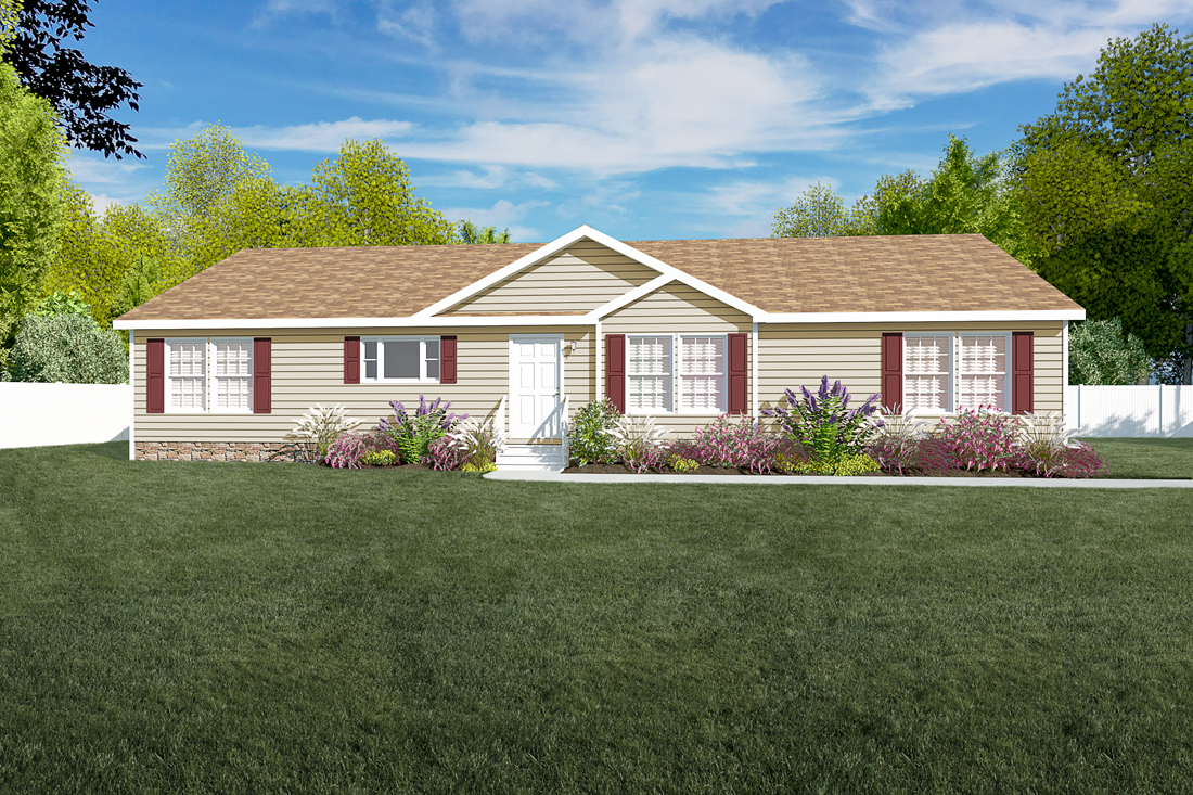 The 2062 CLASSIC Exterior. This Manufactured Mobile Home features 3 bedrooms and 2 baths.