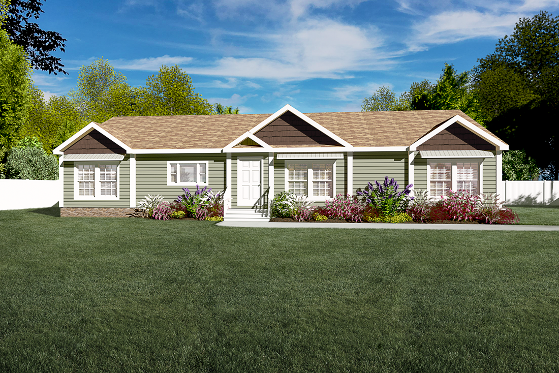 The 2062 CLASSIC Upgrade Exterior. This Manufactured Mobile Home features 3 bedrooms and 2 baths.